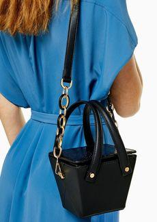 Topshop Crush Black Crocodile Bucket Bag