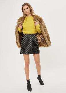 Crystal Leather Mini Skirt