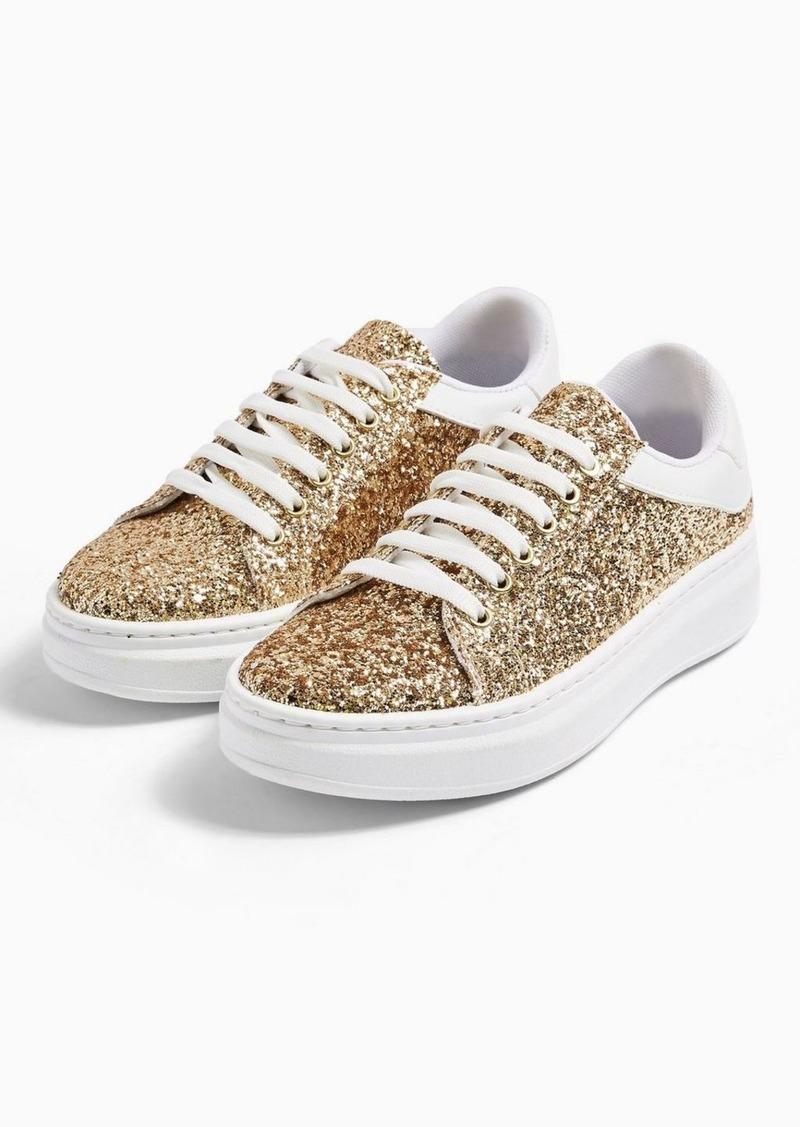 Topshop Cuba Gold Glitter Sneakers