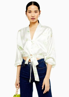 Topshop Daisy Belted Plunge Blouse
