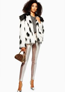Topshop Dalmation Print Faux Fur Coat