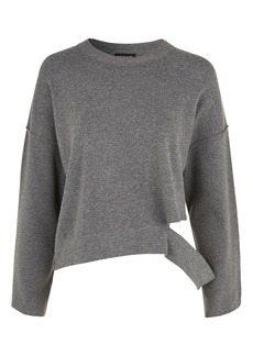 Disconnected Hem Knitted Sweatshirt