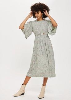Topshop Ditsy Lattice Smock Dress