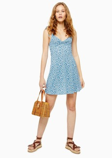 Topshop Ditsy Twist Front Mini Sun Dress