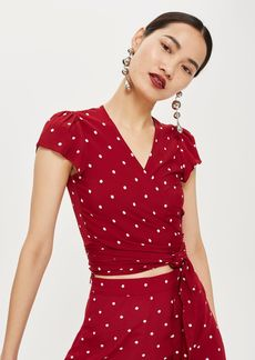 Topshop Dot Print Wrap Crop Top By Flynn Skye