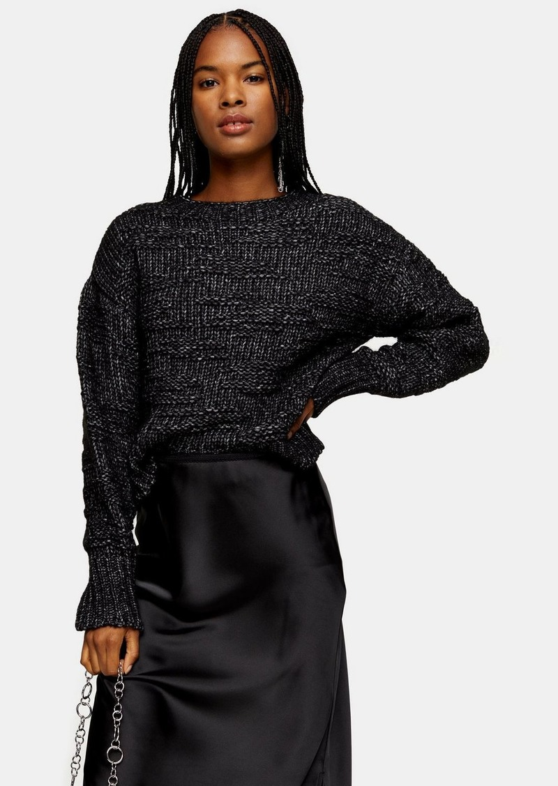 Topshop Black And White Knitted Drop Stitch Sweater