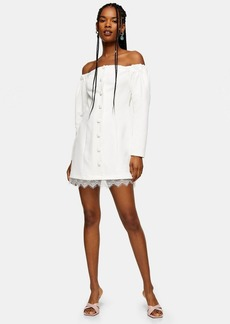 Topshop Ecru Lace Bardot Mini Dress