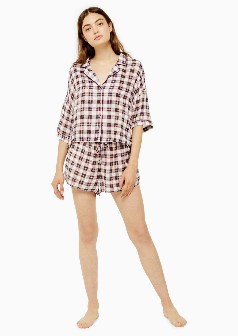 Topshop Ecru Lightweight Check Boxy Pyjama Set