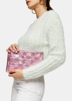 Topshop Edit Pink Weave Zip Large Pouch Clutch Bag
