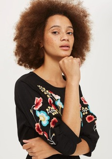 Embroidered Blouson Sleeve Shift Dress
