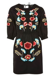 Embroidered Blouson Sleeve Shift Dress