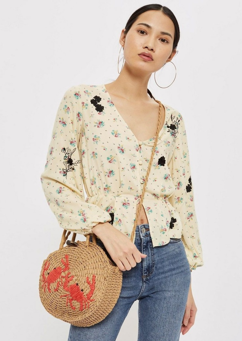 fb94c25041a339 Topshop Embroidered Floral Blouse | Casual Shirts