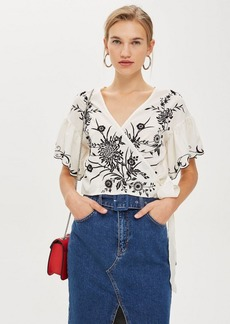 Topshop Embroidered Floral Wrap Top