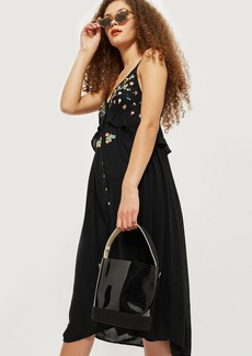 Topshop Embroidered Frill Dress