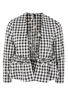 Embroidered Gingham Jacket