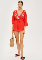 Topshop Embroidered Jersey Playsuit