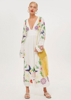 Topshop Embroidered Plunge Midi Dress