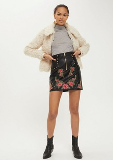 Topshop Embroidered Studded Mini Skirt