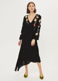 Embroidered V Back Midi Dress
