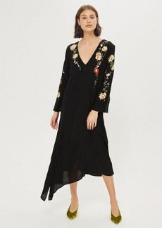 Topshop Embroidered V Back Midi Dress
