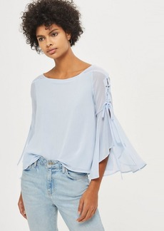 Topshop Eyelet Lace Up Flute Sleeve Top
