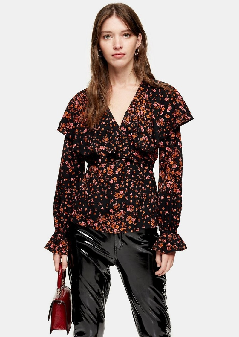 Topshop Fallen Floral Bloom Angel Sleeve Blouse