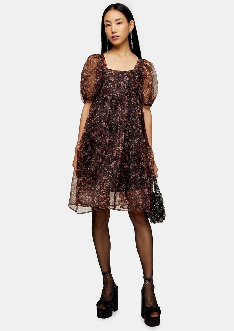 Topshop Fallen Floral Print Organza Tiered Dress