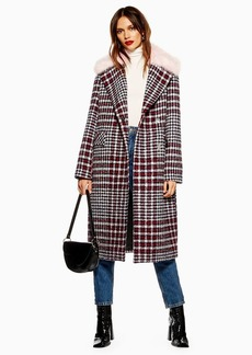 Topshop Faux Fur Collar Check Coat