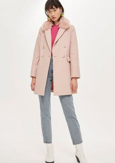 Topshop Faux Fur Collar Coat