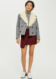 Faux Fur Collar Pea Coat