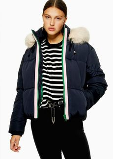 Topshop Navy Faux Fur Hooded Puffer Jacket