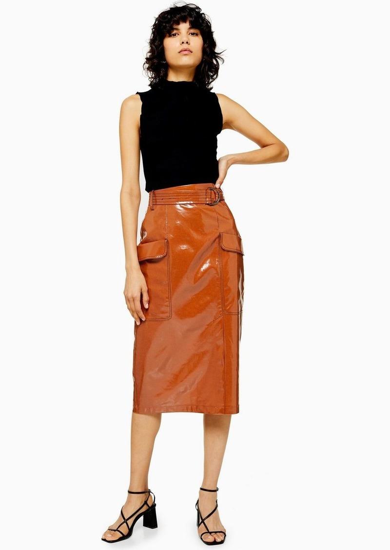 Topshop Faux Leather Vinyl Midi Skirt