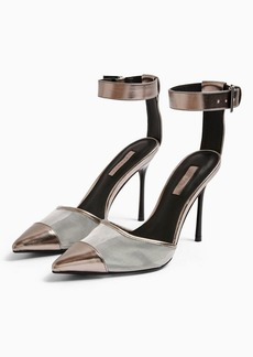 Topshop Fern Silver Mesh Ankle Strap Shoes