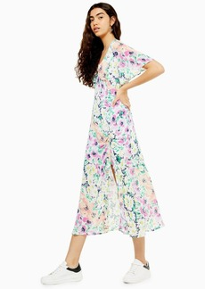 Topshop Multicoloured Floral Angel Sleeve Ruffle Dress