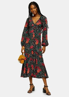 Topshop Floral Button V Neck Midi Dress