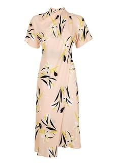 Topshop Floral Drape Neck Midi Dress