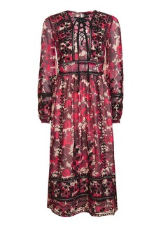 Topshop Floral Embroidered Midi Dress