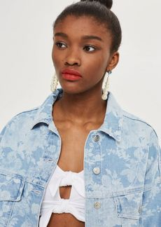 Topshop Floral Hacked Off Denim Jacket
