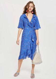 Topshop Floral Jacquard Midi Wrap Dress