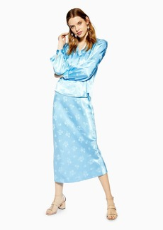 Topshop Floral Jacquard Satin Bias Skirt