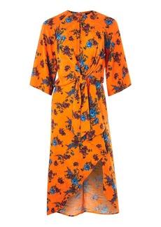 Topshop Floral Knot Front Midi Dress