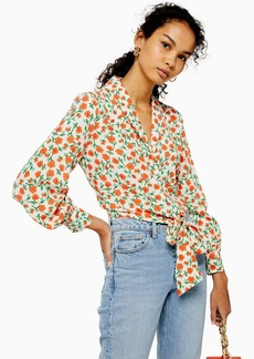 Topshop Floral Knot Front Shirt