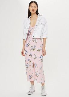 Topshop Floral Lattice Midi Slip Dress