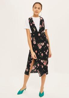 Topshop Floral Midi Pinafore Dress