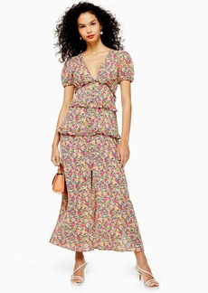 Topshop Floral Open Back Ruffle Midi Dress
