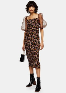 Topshop Floral Organza Midi Dress