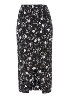 Floral Plisse Wrap Skirt