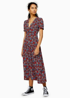 Topshop Floral Print Cluster Midi Dress