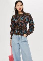 Topshop Floral Print Corset Blouse