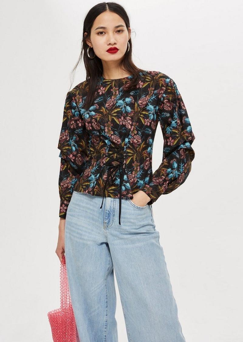 61f727f6cb6f45 Topshop Floral Print Corset Blouse | Casual Shirts